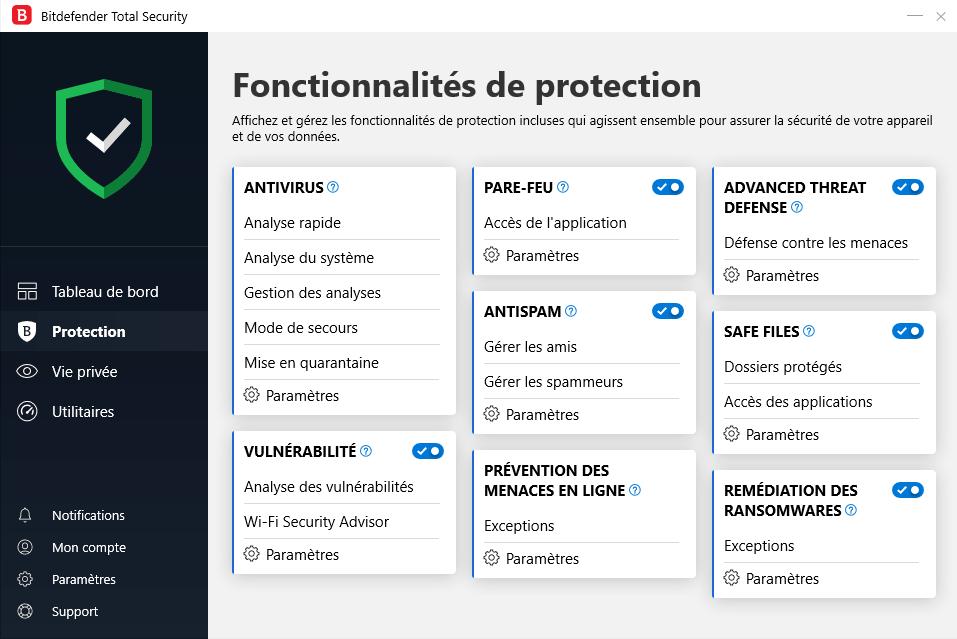 Fonctionnalités de protection de l'antivirus