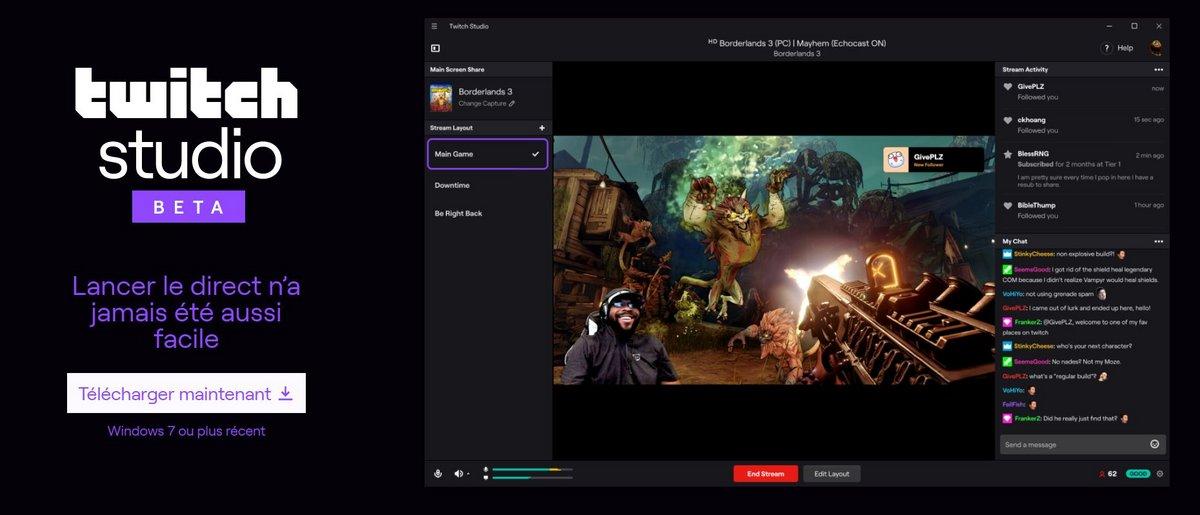 Twitch lance  son logiciel de diffusion  Twitch Studio